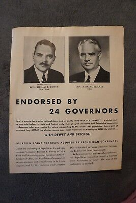 Vintage Republican Tabloid Dewey Brickner 14 Point Plan to end New Deal