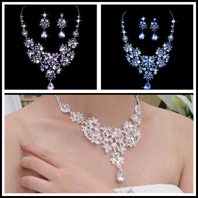 Prom Wedding Bridal Party Crystal Rhinestone Necklace Earring Jewelry Sets CA