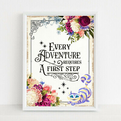 Alice in Wonderland Print Adventure Quote Cheshire Cat Picture Wall Art Home