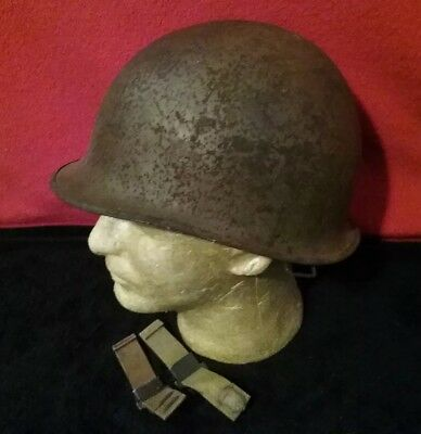 Front Seam Sw. Bales WWII M-1 U.S 8 Marked Helmet & Late Liner + Bad But Cheap !