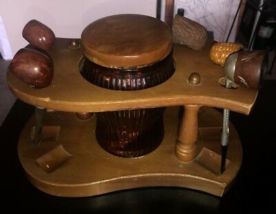Vintage Wood Smoking Tobacco 6 Pipe Stand Holder Glass Jar Humidor, & 5 pipes