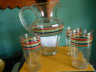 Vintage Depression Glass Pitcher and 3 Glasses Striped Bands Multicolored