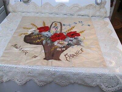 Antique French France Silk & Lace Flower Basket Pillow Cover