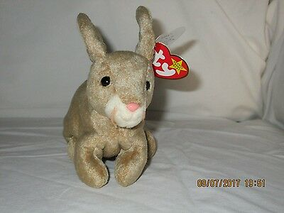"""Ty Beanie Babies """"Nibbly"""" The Bunny,Tag Errors, 1 says '98 and 1 says '99 Rare"""