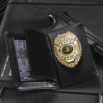 Gold Concealed Carry Weapons Permit Badge with Black Leather Wallet Case