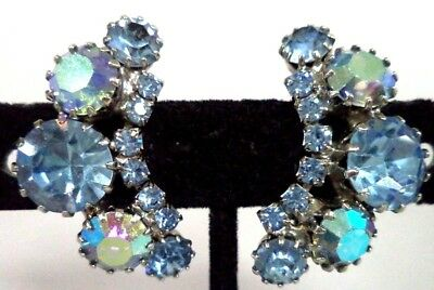 "*rare* Vintage Signed Weiss Ab Rhinestone Flower 1 1/4"" Clip Earrings!!! G186M"