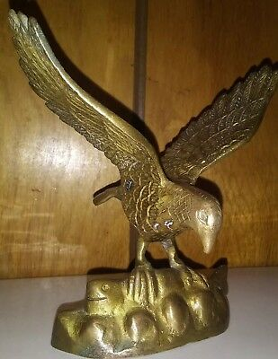 "Vintage Solid Brass Eagle Flag ~ Desk Piece. 5"" Tall , One Pound"