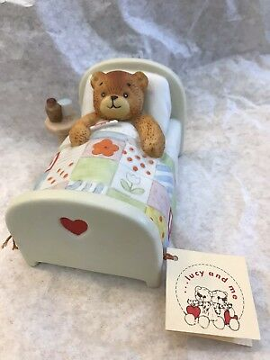Lucy Rigg/Lucy & Me Bear Sick In Bed Figurine; FREE PRIORITY SHIPPING!!