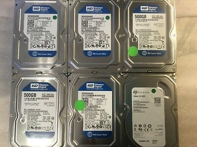 "LOT OF (6) WD / Seagate 500GB 3.5"" SATA DRIVE 7200RPM"