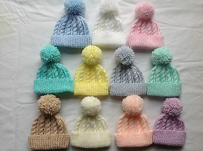 Hand Knit Children's Aran Cable Beanie Bobble Hat