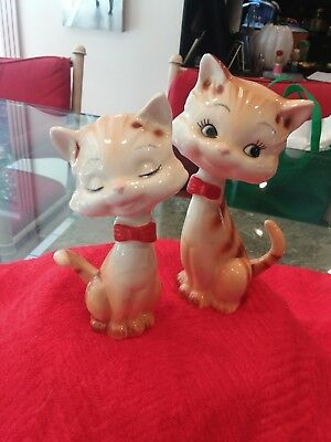 Vintage Brown And White Tabby Cat Salt And Pepper Shakers
