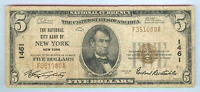 1929 $5 National Currency Note - The National City Bank Of New York, Ny - Vg+