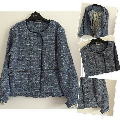 Next Girls Fashion Blue Tweed Style Lined Coat Jacket 9 Years