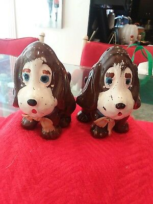 Vintage Brown And White Bassett Hound Dog Salt And Pepper Shakers
