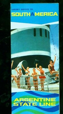 1960's Argentine State Line cruise ship foldout brochure