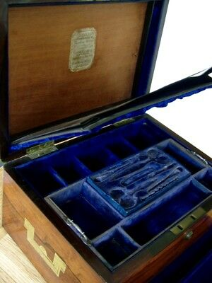 Stunning William Chrisp London Antique Ladies Travelling Sewing Box Work Tool Nr