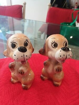 Vintage Brown And White Puppy Dog Salt And Pepper Shakers