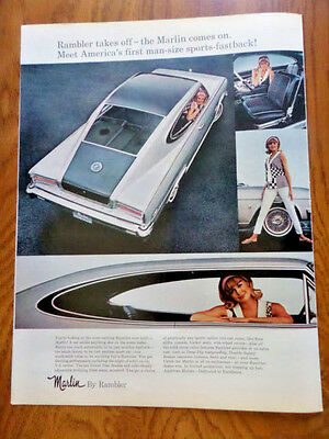 1965 AMC Marlin by Rambler Ad  First Man-Size Sports-Fastback