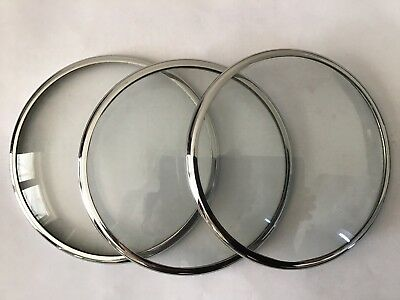 3 Chrome Clock Bezels with Convex Glass 125mm.