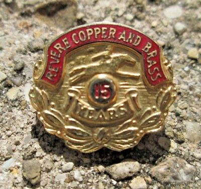 Vintage Revere Copper and Brass Co. 15 Year Employee Lapel Pin