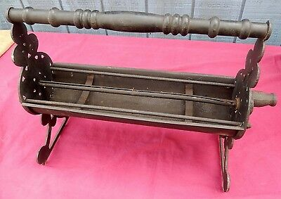 Antique Victorian Fancy Cast Iron Newspaper Log Roller for Fireplace $30 OFF!!