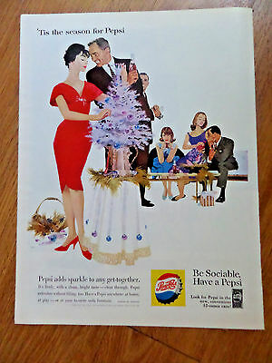 1960 Pepsi Cola Soda Pop Ad  Christmas Party Get-Together Theme