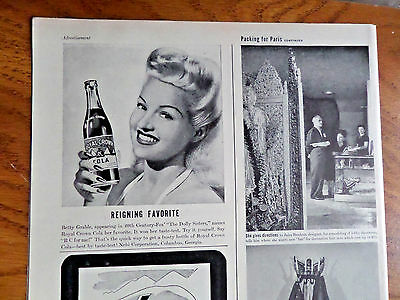 1945 RC Royal Crown Cola Ad Movie Hollywood Star Betty Grable