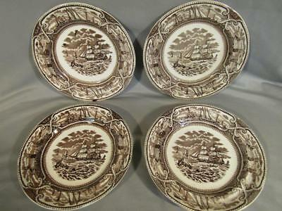 "Set 4 Antique Staffordshire Ashworth  ""american Marine"" Dinner Plates - Ships"