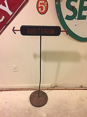 Vintage Double Sided Auditorium Arrow Sign On Stand DC Government Building Art