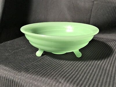 Outstanding 3-Legged Bowl Jadeite Green Concentric Bands Jeannette? EXC