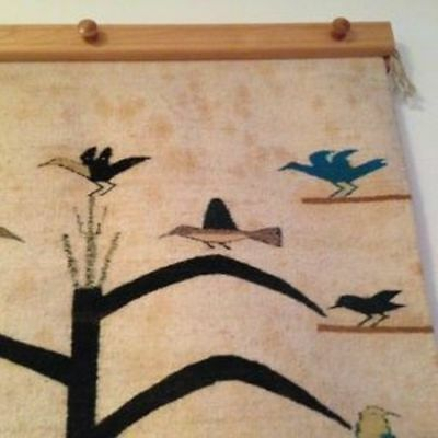 Navajo Rug, 31 1/2 x 48, Tree of Life. (Includes wooden hanging bar)