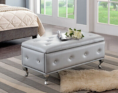 Kings Brand - Silver Vinyl Tufted Design Upholstered Storage Bench Ottoman
