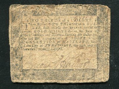 Md-95 August 14, 1776 $2/3 Two Thirds Dollar Maryland Colonial Currency Note