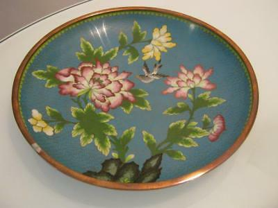 """Stunning Vintage Chinese  Cloisonne On Copper 10.25"""" Inches Plate"""