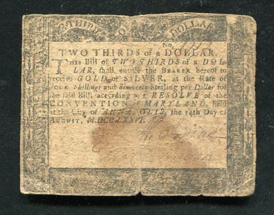 Md-95 August 14, 1776 $2/3 Two Thirds Dollar Maryland Colonial Currency