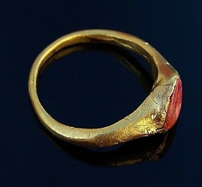 ancient roman intaglio gold ring *rare* lovers ring