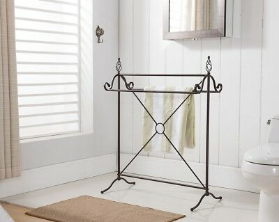 Kings Brand Antique Style Bronze Finish Metal Towel Rack Stand