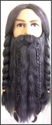 HOBBIT DWARF WIZARD LOTR Fantasy Mens Mixed Gray BRAIDED WIG MOUSTACHE and BEARD