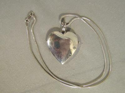 "Tiffany & Co. Sterling Silver Heart Locket With 19"" Necklace Chain - $400 Retail"
