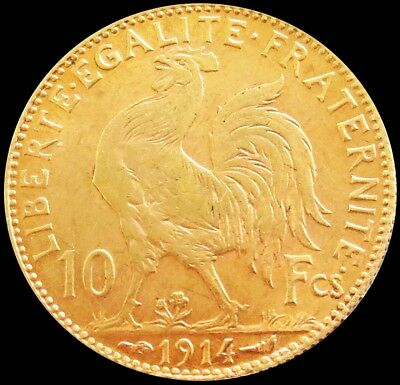 1914 Gold France 10 Francs Rooster Coin Condition About Uncirculated