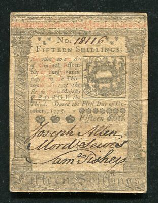 PA-168 OCTOBER 1, 1773 15s FIFTEEN SHILLINGS PENNSYLVANIA COLONIAL CURRENCY NOTE