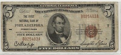 The First National Bank , Philadelphia, PA 1929 T/1 $5  Charter 1