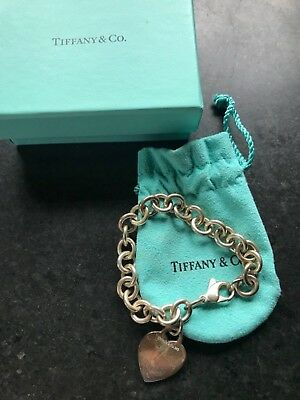 Authentic Tiffany & Co Sterling Silver 925  Blank Heart Tag Bracelet with Box