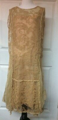 1920s vintage antique flapper gatsby wedding ivory silk lace dress