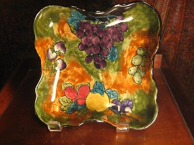 VINTAGE 4 SIDED ART DECO BOWL FRUITS HAND PAINTED FX ABRAHAM HANCOCK&SONS C1930s