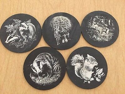 Vintage Set of Five Welsh Wales Round Slate Drink Coasters Squirrel Stag Shire