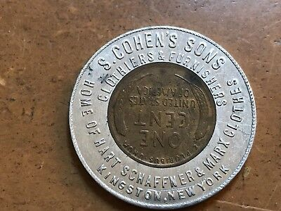 Kingston NY S. Cohen's Sons Clothiers encased 1920 Lincoln cent