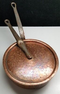 """Vintage Bia Cordon Bleu Hammered Copper #20 Sauce Pan With Lid 8"""""""