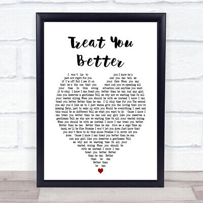 Treat You Better Vintage Heart Song Lyric Quote Print