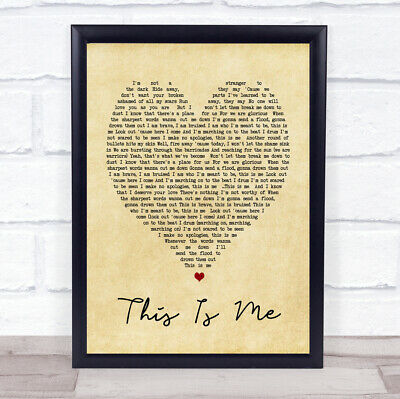 This Is Me The Greatest Showman Vintage Heart Song Lyric Quote Print
